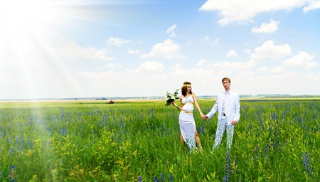 recien casados: matrimonio s�lo en el campo verde  Foto de archivo