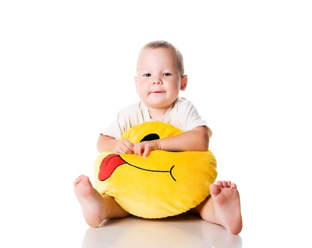 Cute little boy with the smiley on white background Stock Photo - 7648493