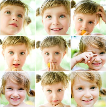 collage of a cute liitle gir's photos close-up Stock Photo - 7803496