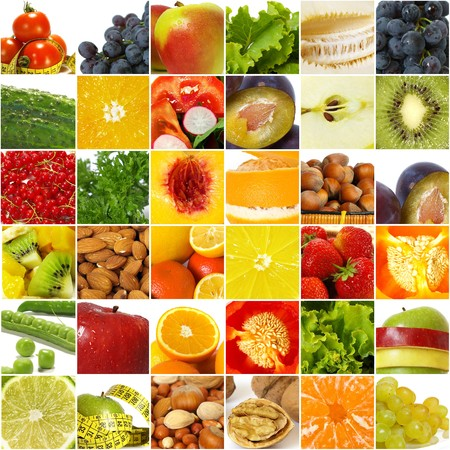 nutrition and health: Fruits vegetable collage.  Healthy nutrition concept Stock Photo