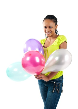 happy black women with the balloons photo