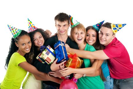 Group of teenagers celebrate birthday. Isolated photo