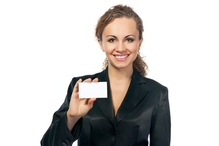 businesswoman in black suit holding blank empty sign. white background Stock Photo - 8111576