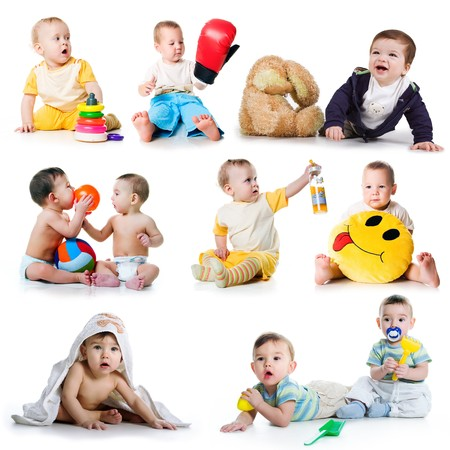 Collection photos of a toddlers on white background Stock Photo - 8111623