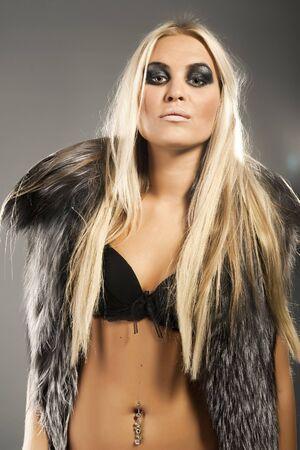 Beautiful model dressed in fur photo