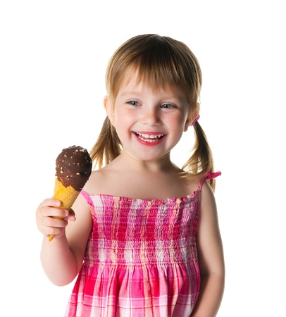 strawberries and cream: cute little girl with the ice-cream on a white background