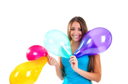 happy cute women with the balloons Stock Photo - 8265840