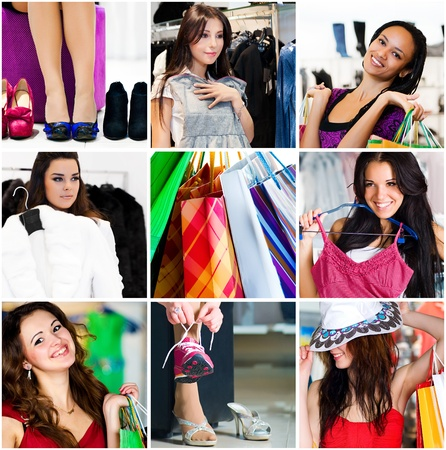 trying on: Pretty woman in the shop. Collage Stock Photo