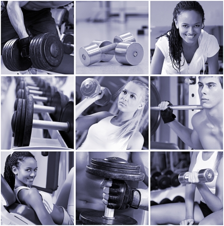 fitness instructor: Sports  lifestyle concept. People in the gym. Stock Photo