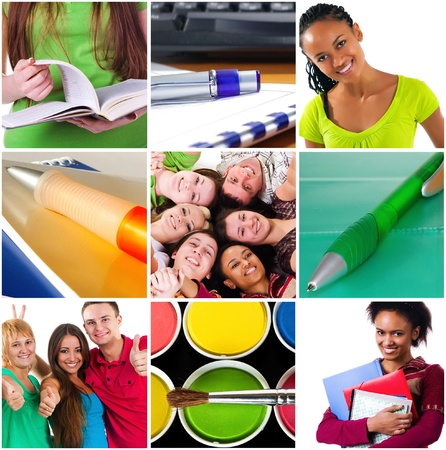 Education concept. Group of carefree teenagers photo