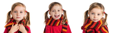 set of a cute little girl in a striped scarf photos photo