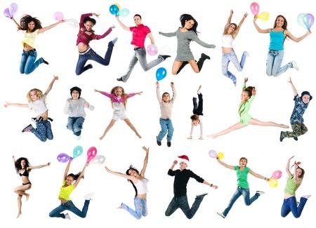 mujer hijos: Colecci�n de fotos de saltar personas Foto de archivo