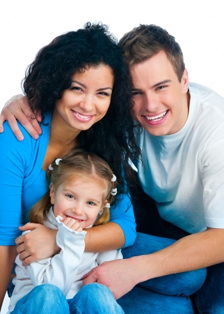 2 3: Happy family isolated on a white background Stock Photo