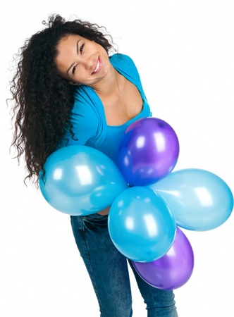 happy cute women with the balloons photo
