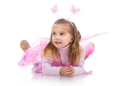 little girl smiling: Little girl in fairy costume on white background