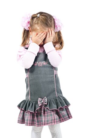 girl with gray eyes: Cry little girl. Studio shot. White background.