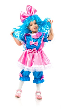 Little girl  with blue hair  on white background photo