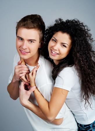 Smiling couple isolated on a white background photo