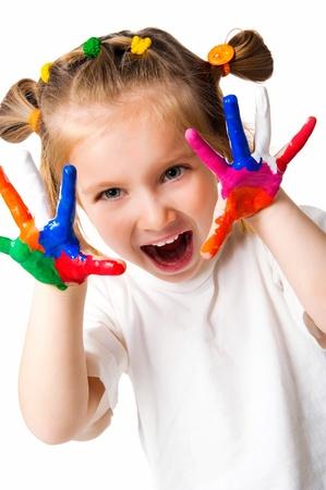 ni�os rubios: ni�a sonriente con las Palmas pintado por una pintura.