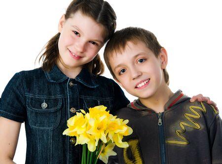 Felices los niños hermana y hermano Foto de archivo