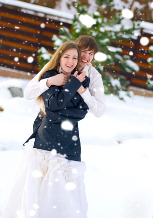 happy couple in wedding day photo