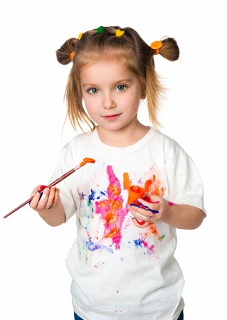 messy kids: girl with the palms painted by a paint
