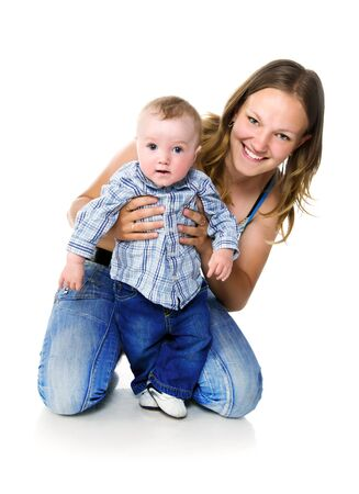 0 6 months: Pretty young women with her son Stock Photo