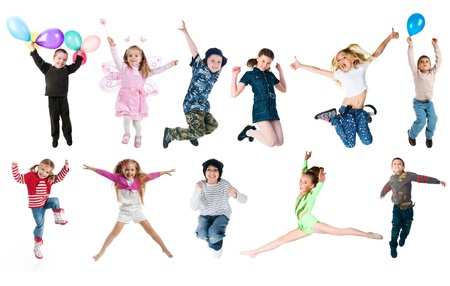 children jumping: Collection photos of jumping kids Stock Photo