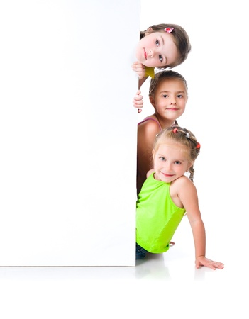 happy children: Cute little girls isolated Stock Photo