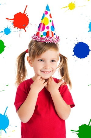 Little  girl in birthday cap Stock Photo - 9636878