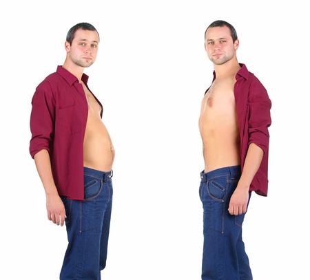 man  from fat to fitness in before and after Stock Photo - 9716073