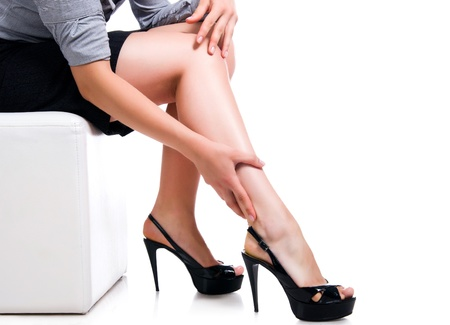 Slim long sexy woman legs Stock Photo - 9860133