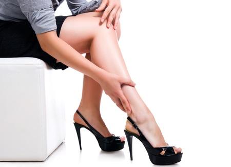 Slim long sexy woman legs photo