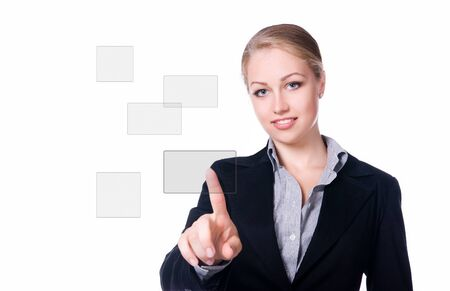 businesswoman pressing a touchscreen button photo