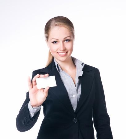 businesswoman card: businesswoman holding blank empty sign Stock Photo