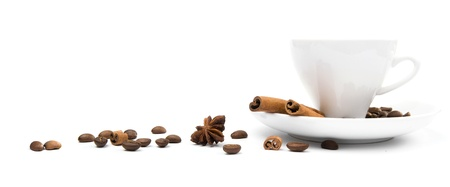 'cinnamon bark': cup of coffee and  cinnamon bark