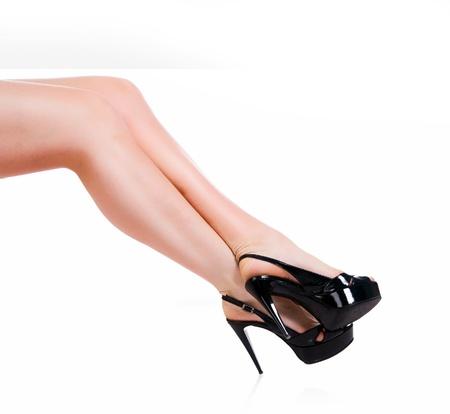 spreading arms: Slim long sexy woman legs