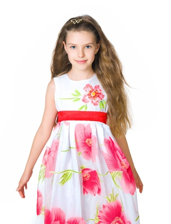 Little girl in red dress photo