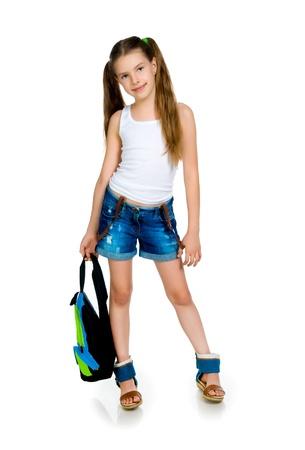 11 years: Cute schoolchild with knapsack
