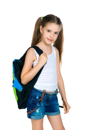 10 11 years: Cute schoolchild with knapsack