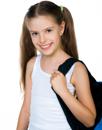 10 years girls: Cute schoolchild with knapsack
