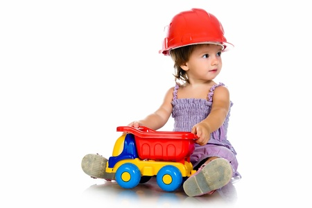 little girl with a big car Stock Photo - 10226058