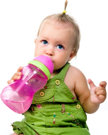 12 18 months: Little girl with the bottle of water