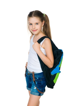 10 years girls: Cute school child with knapsack