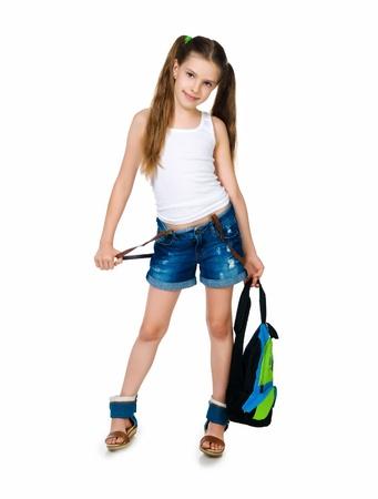colegiala: Linda escolar con mochila