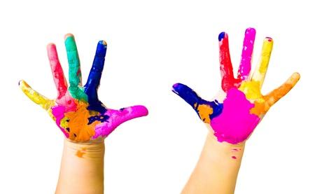 Hände Von Kindern Gemalt In Bunten Farben Bereit Für Hand-Drucke ...