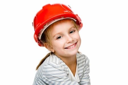 casco rojo: Little girl clise-up. Foto de archivo