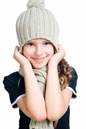knit cap: little girl in cap and scarf