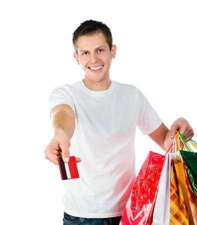 Happy shopping man photo