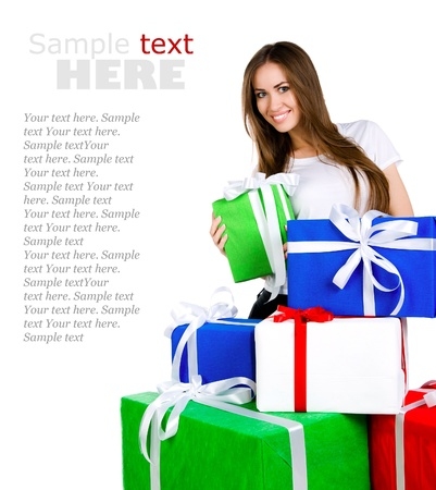 winter gift: Pretty young woman with gifts